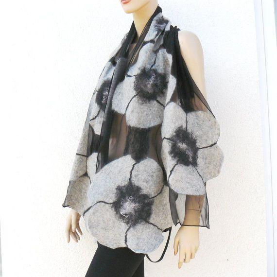 Nuno Felted Scarf merino wool silk floral Nuno felting shawl flowers