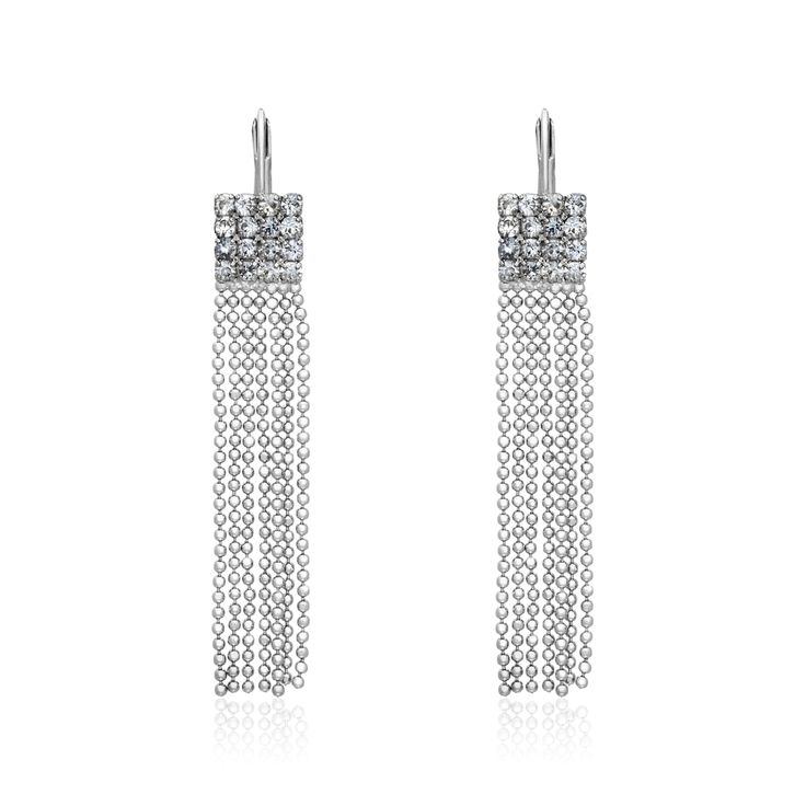 SHINYBOUL - long ball chain silver earrings with rhinestones