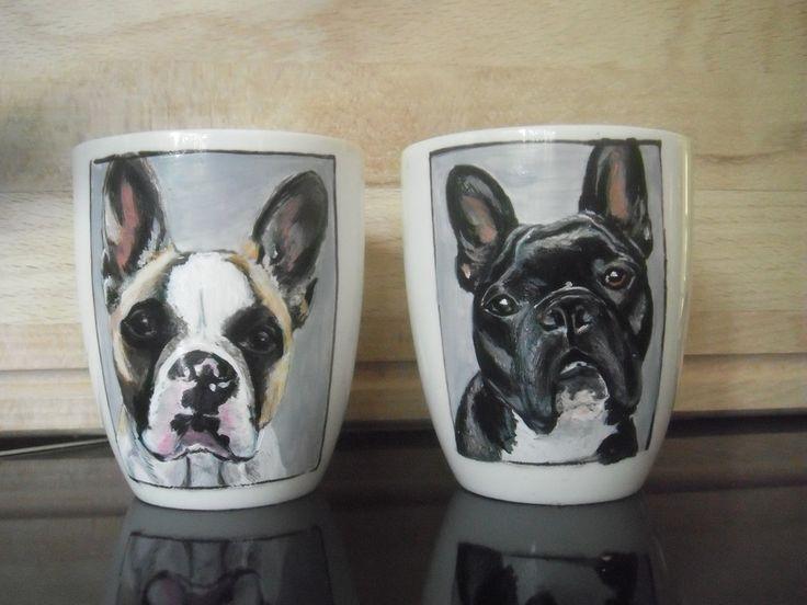 Bulldog portraits , hand painted