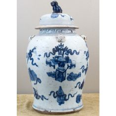 Classic Blue and White Porcelain Jar with Lid