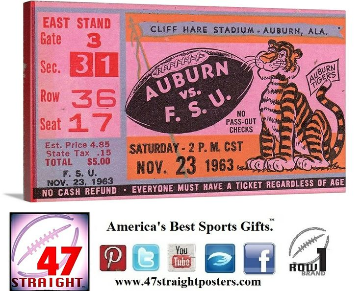 Who's going to win the 2014 BCS Championship? Please comment. 1963 canvas ticket art. #Auburn #Tigers #WarEagle #FloridaState #FSU #Seminoles #collegefootball #sportsart #47straight