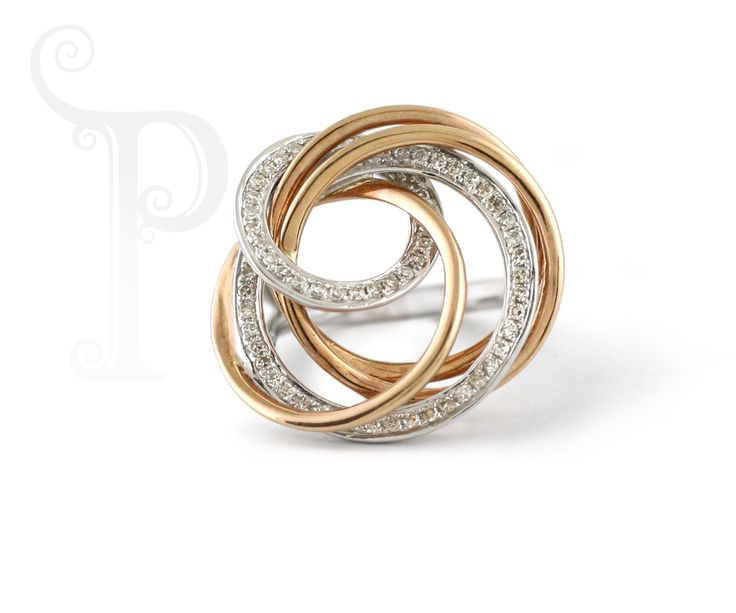18ct Rose & White Gold Circle Dress ring, Set With Small Round Brilliant Cut Diamonds