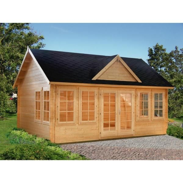Featuring a popular design with multiple windows, this cottage-style kit cabin allows abundant natural light inside. This 209-square-foot cabin makes an excellent pool house, guest house, summer house
