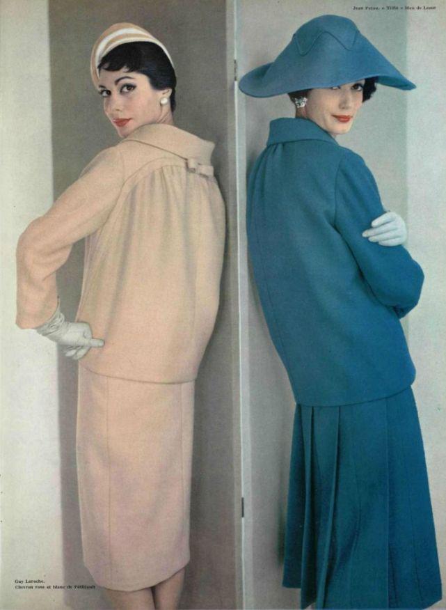 1958 - Guy Laroche pink suit & Jean Patou blue suit