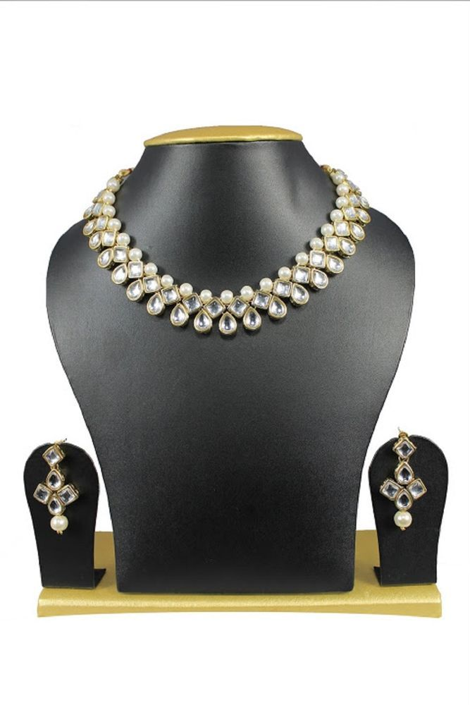 Indian Ebay Bollywood Gold Plated White Pearls Wedding Wear Women Necklace Set #natural_gems15 #GoldPlated