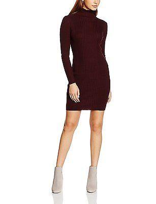 12, Red (Dark Burgandy), New Look Women's Rib Roll Neck Dress NEW