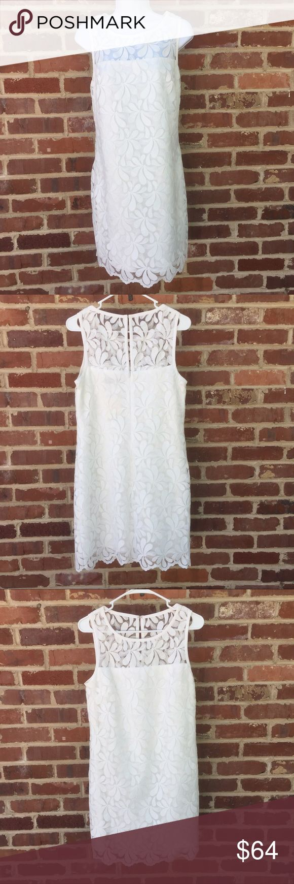"""Trina Turk White Sheath Dress Size 6 Trina Turk Dress •White shift with a white on white floral overlay •Size 6 •Brand new with tags •approx: 35"""" long; 16.5"""" across armpits Trina Turk Dresses Mini"""