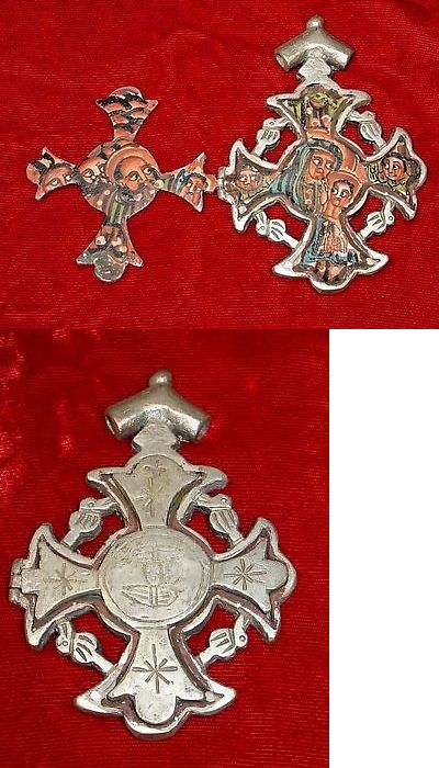 Necklaces and Pendants 98481: Hand Painted Ethiopian Christian Metal Cross Hinged Icon Pendant Ethiopia Africa BUY IT NOW ONLY: $54.0