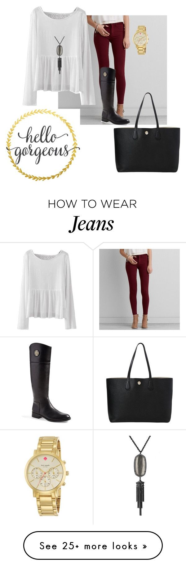"""""""Maroon jeans"""" by txpreppy on Polyvore featuring American Eagle Outfitters, Kate Spade, Tory Burch and Kendra Scott"""