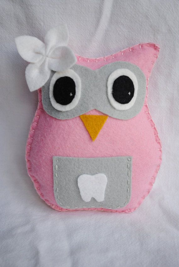 Owl Tooth Fairy Pillowpink gray and white with by memeandsaysay, $13.00