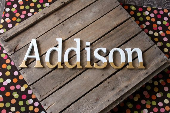 Addison Gold Dipped Baby Name Letters Gold by CucumberAppleStudio