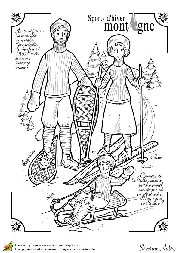 Dessin d'une famille pratiquant les sports d'hiver sur la montagne, à colorier