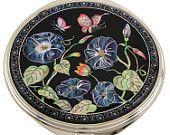 Mother of Pearl Makeup Mirror morning glory flower Design Cosmetic mirror Handbag Purse handheld Compact hand pocket Mirror