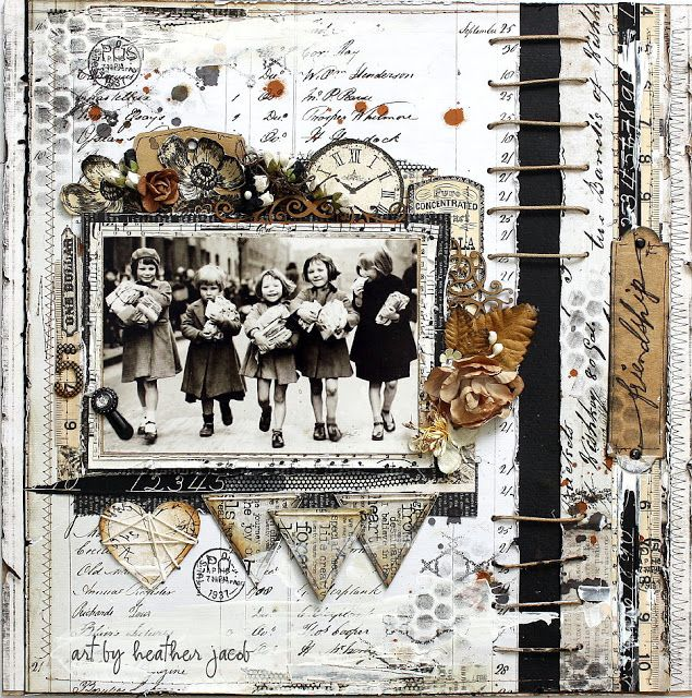 Friendship...wonderful layout with a vintage Census background combined with ephemera and flowers.