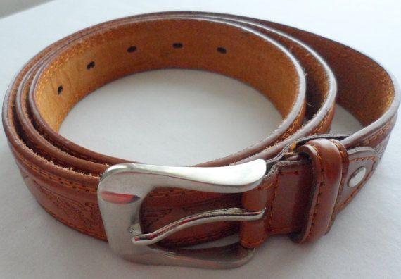 MENS GENUINE TAN  Leather Belt   Curiel Designed  by BYGONERA, $50.00