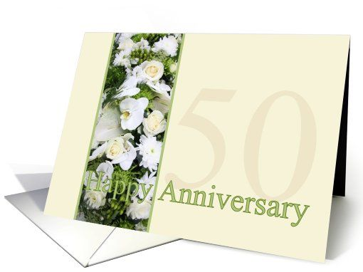 Gift Ideas For 14th Wedding Anniversary: 50th Wedding Anniversary White Mixed Bouquet Card