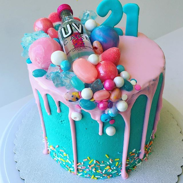 Every 21st birthday should come with a (cake) shot. #dripcake #21stbirthday…