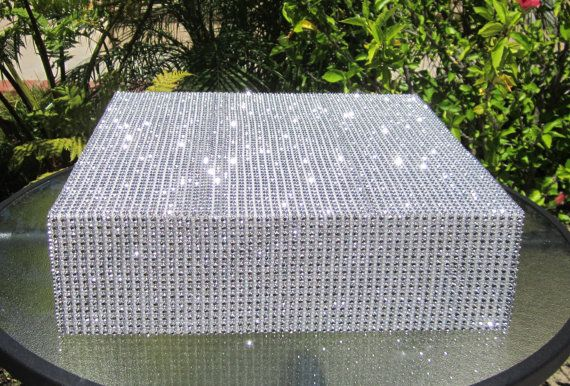 "Rhinestone Diamond Mesh Square Wedding Cake Stand - 6"" to 24"" wide (15cm to 61cm) 4"" tall (10cm) - 12 color choices"