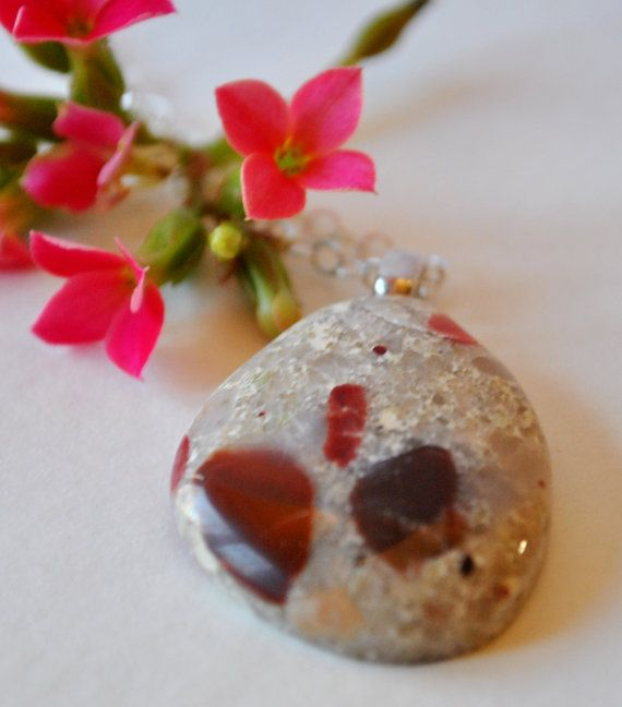 Michigan Pudding Stone on Sterling Silver chain simple, boho, minimalist, Michigan necklace