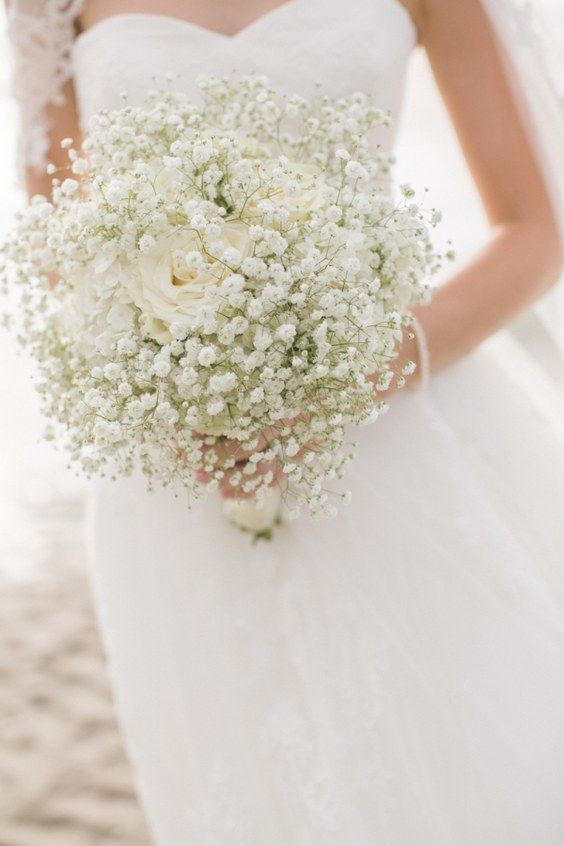 rustic baby's breath wedding bouquet / http://www.himisspuff.com/rustic-babys-breath-wedding-ideas/8/