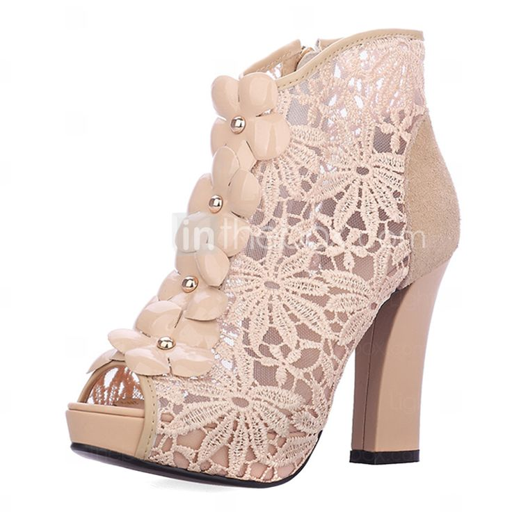 Leather Women's Chunky Heel Peep Toe Ankle Fashion Boots(More Colors) - USD $ 49.99