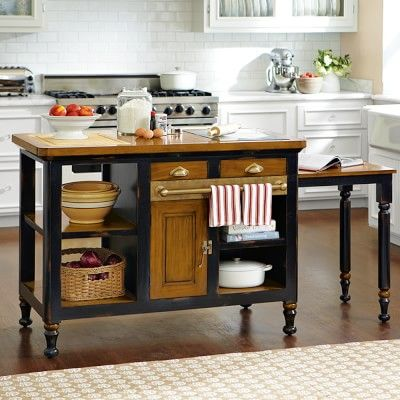 ONLY LIKE the idea of this island having a pull out table Bastille Kitchen Island #williamssonoma