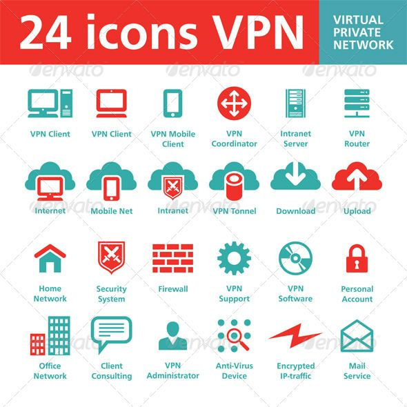 24 Icons VPN Virtual Private Network