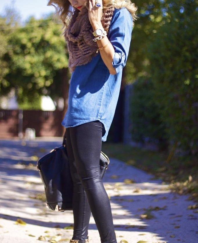Meninas olhem este look, composto por: Camisa jeans com calça cotton preta.