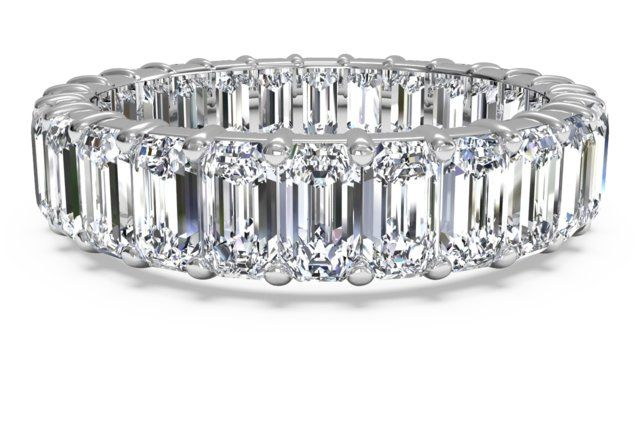 Narrow-Set Emerald-Cut Diamond Eternity Band - in Platinum (4.40 ctw)  Ritani