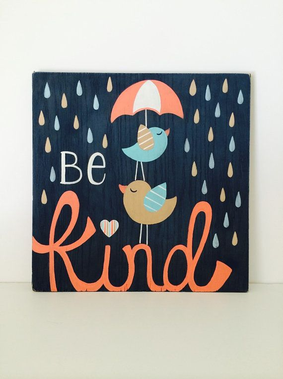 Be Kind Wood Sign Girls Nursery Art Nursery by SweetBananasArt