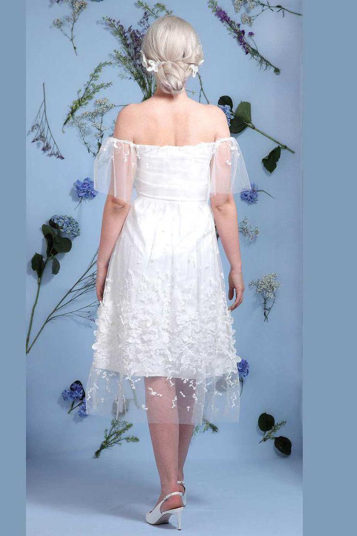Off the shoulder tea length wedding dress   best Tea Length Wedding Dress images on Pinterest  Prom dress
