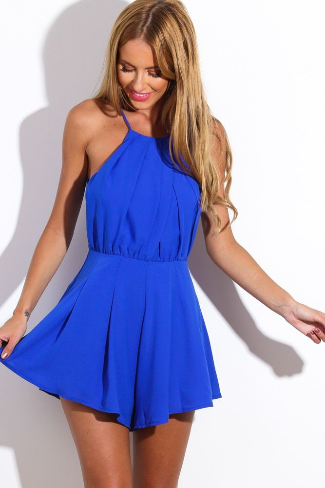 Hellomolly Bright Eyes Playsuit Cobalt Pretty Outfits