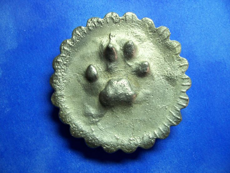 Kittens paw print in foundry sand, casting made in pewter