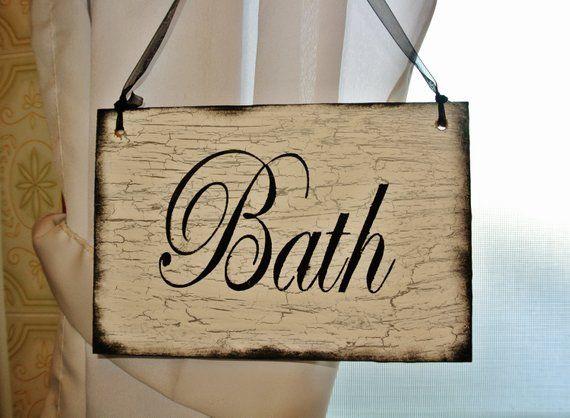 Bath Wood Sign Bathroom Decor Shabby Vintage Antiqued