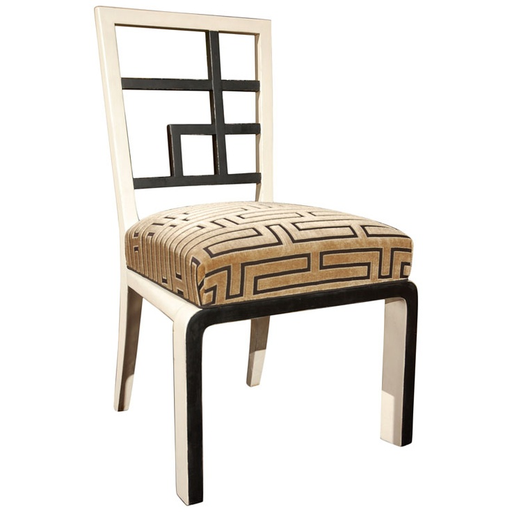Black and White Modernist Occasional Chair by L. Kozma  Hungary  circa 1930's  Black and White painted occasional chair with new cover, by Lajos Kozma