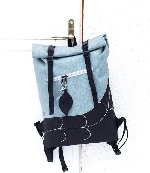 Silver Leaf Roll Top BackpackWaterproof Rucksack by LeaflingBags