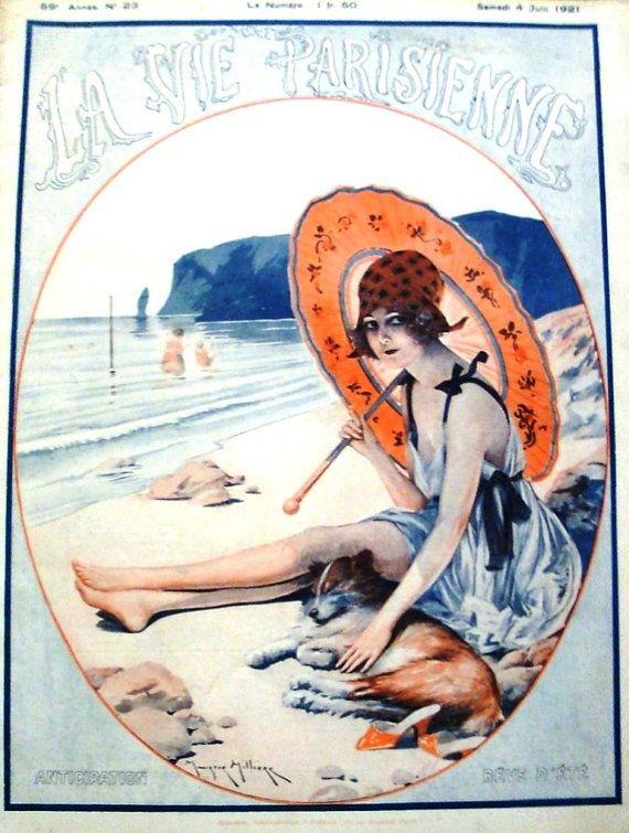 La Vie Parisienne, 1921 French Art Deco Bathing Beauty risque magazines   from batnicks