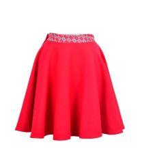 Spódnica mini wełniana w kolorze makowej czerwieni