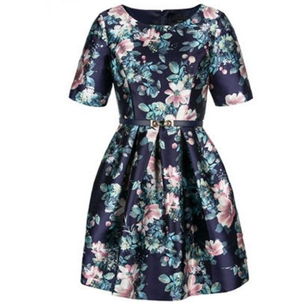 Relaxfeel Women's Silk Flowers Fifth Sleeve Dress Navy (677.915 IDR) ❤ liked on Polyvore featuring navy