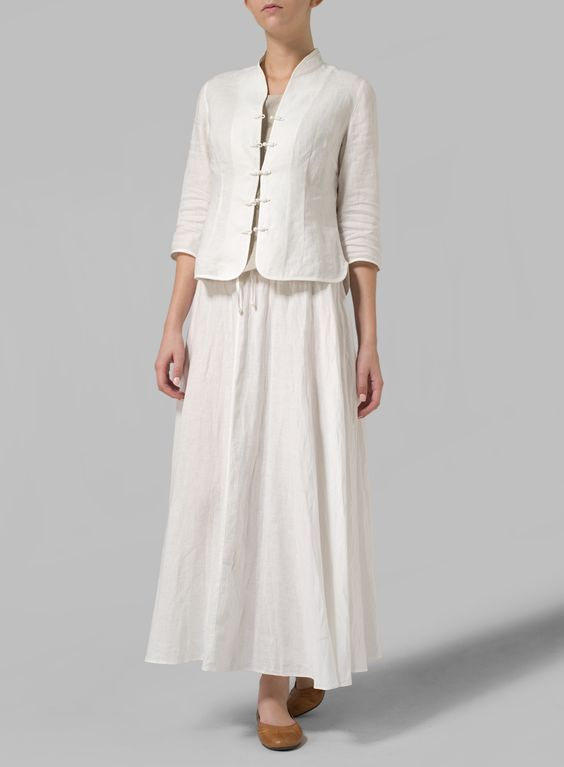 Linen Long Flared Skirt: