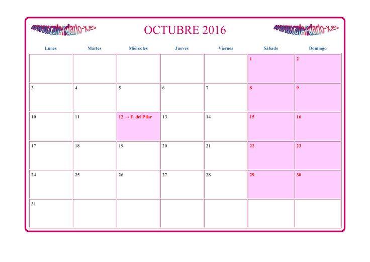 calendario octubre 2016 con notas