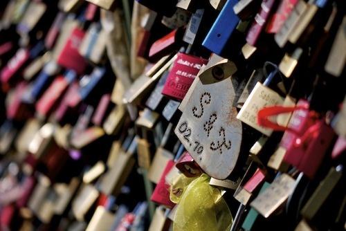Köln, Germany - love locks on the Hohenzollernbrücke