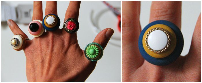 DIY : Button Rings by Frieda Fliegenpilz - uses elastic cord and plastic tubing!