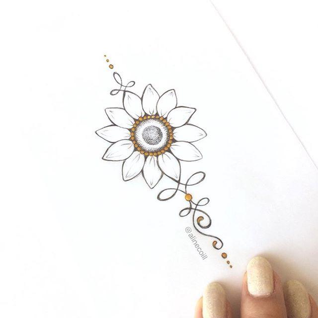 • G I R A S S O L • #unalome #unalometattoo #girassol #sunflower #sunflowertattoo #rustictattoo