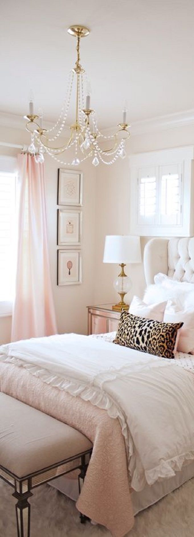 Pastel bedroom with a pop of leopard