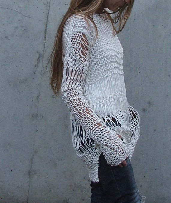 white sweater / ivory sweater Cotton Sweater in Ivory por ileaiye, $115.00
