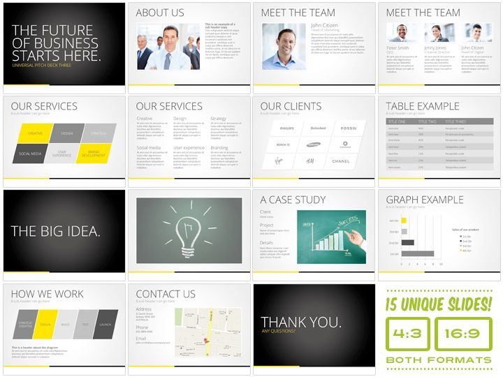 Universal Pitch Deck Three PowrPoint by PitchStock on @creativemarket