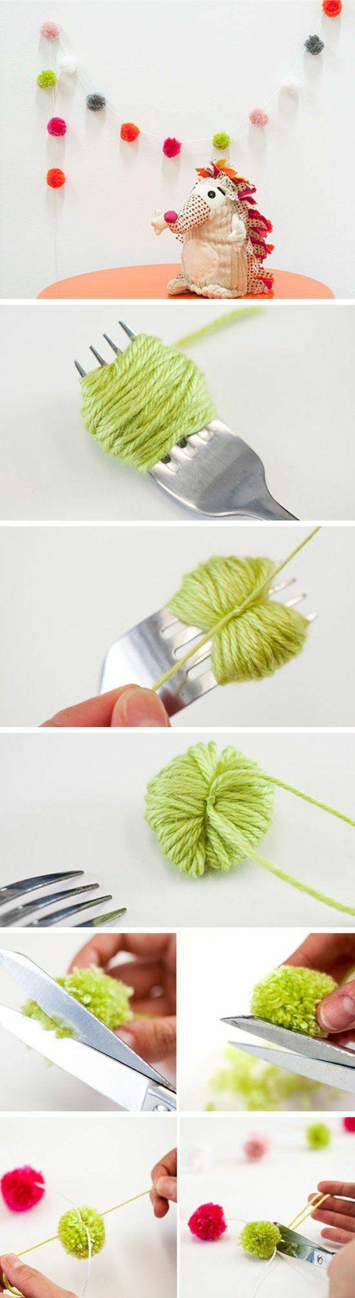 une guirlande DIY de pompons, idée simple comment fabriquer un pompon à l'aide d'une fourchette et puis faire une guirlande pour la chambre enfant