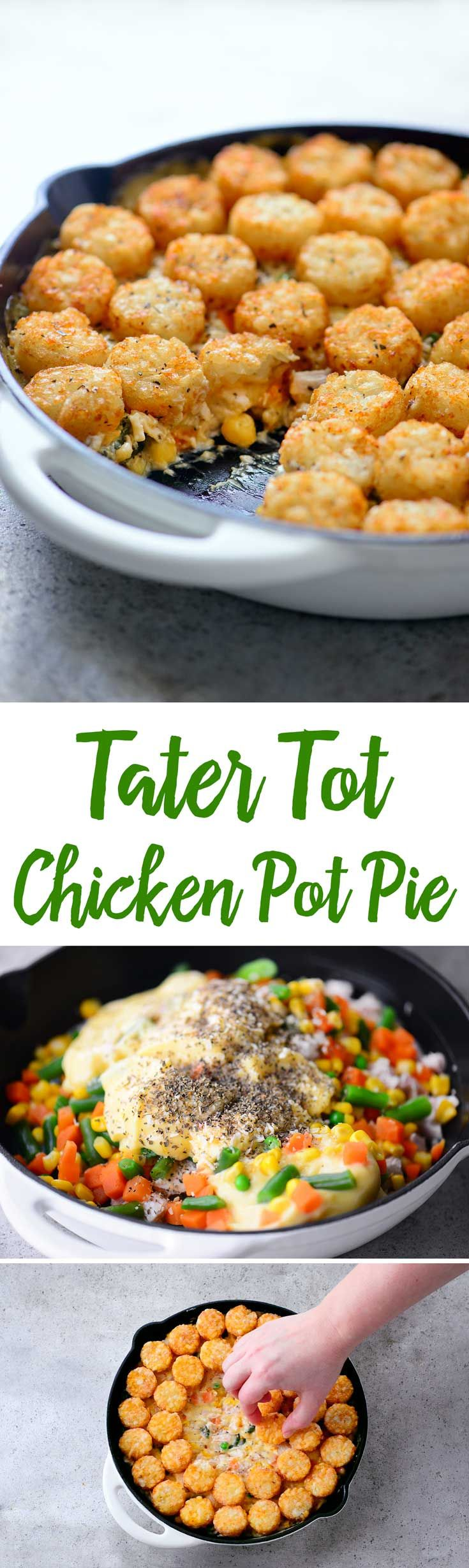 er Tot Chicken Pot Pie because admit it...pie crust is boring. The whole family will love this spin on the traditional chicken pot pie recipe with the potatoes on top rather than stuffed inside!
