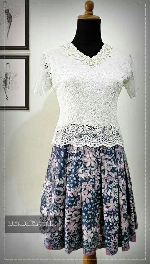 Indonesian Batik  - white lace combination with batik skirt --- lovely ---